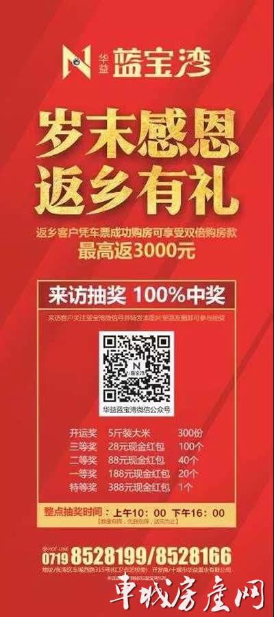 【华益蓝宝湾年末感恩第二波】大米+现金红包+返乡置业有豪礼!十堰房价