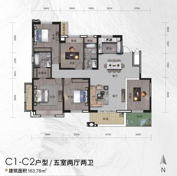 中瑞领航城二期c3-c10户型/甲室两厅二卫建筑面积133.24㎡